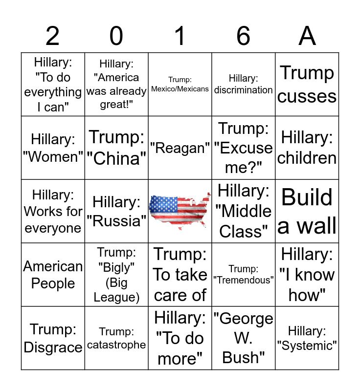 2016 Presidential Debate Round 1 Bingo Card