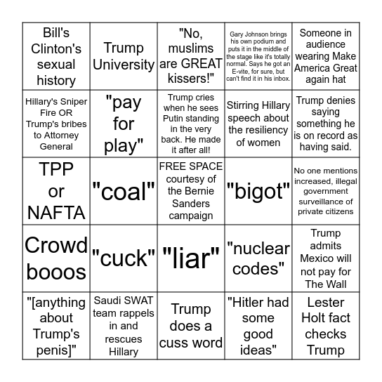Fortunate Horse Presents: The First 2016 Presidential Debate: We Deserve This Bingo Card