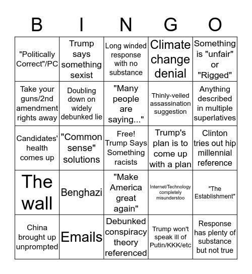 Debate 2016 Bingo Card