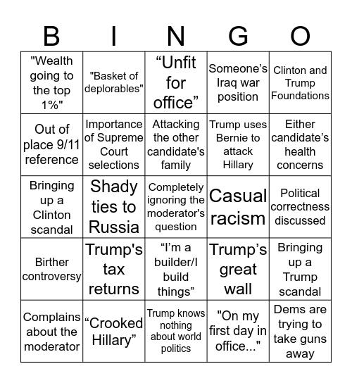 Debate Bingo Card