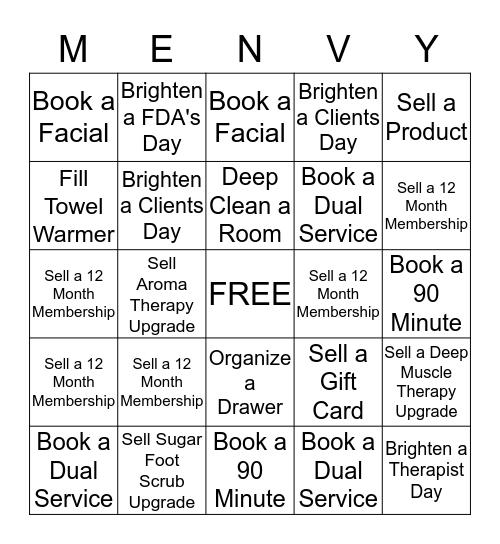 "Massage Envy 5 Year Celebration ""MENVY"" Game! Bingo Card"