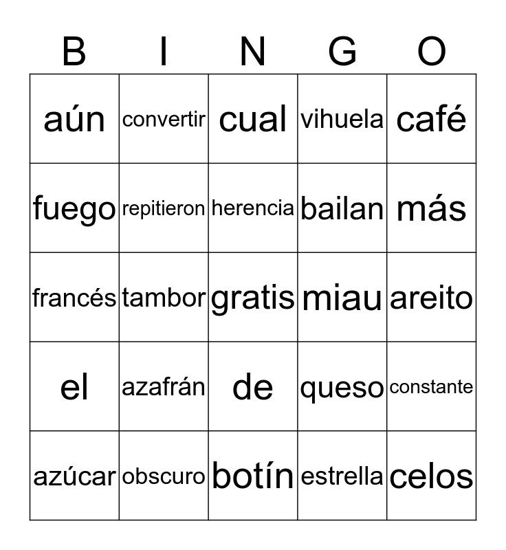 Acentacion Bingo Card