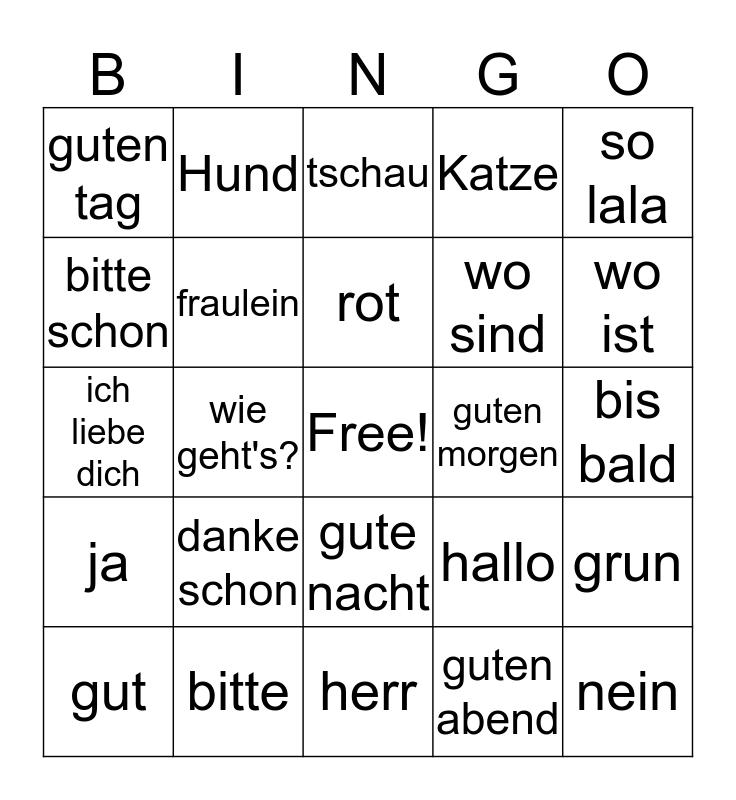 German Bingo Card