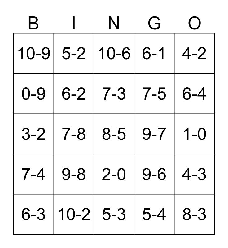 Subtraction  Bingo Card