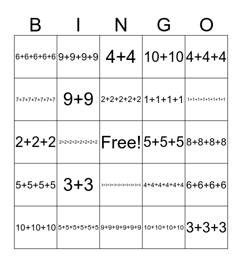 Repeated Addition Bingo!  Bingo Card
