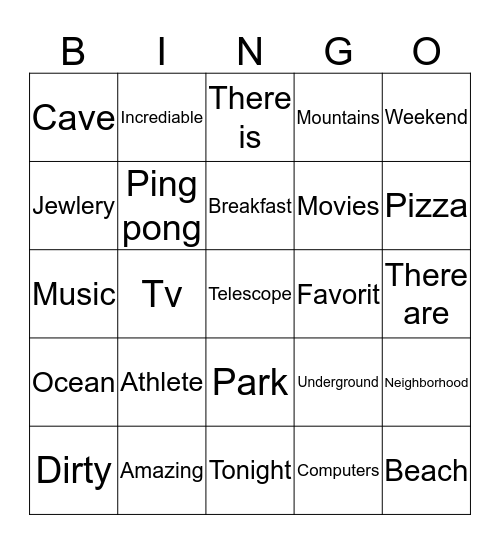 Connect 2  Bingo Card