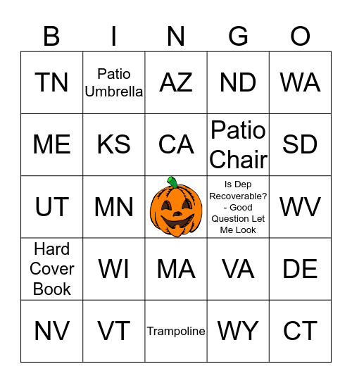 Team E Bingo Card