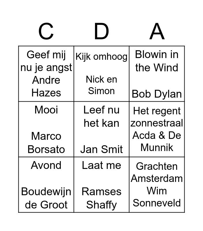 SWINGO CDA Wijdemeren Bingo Card
