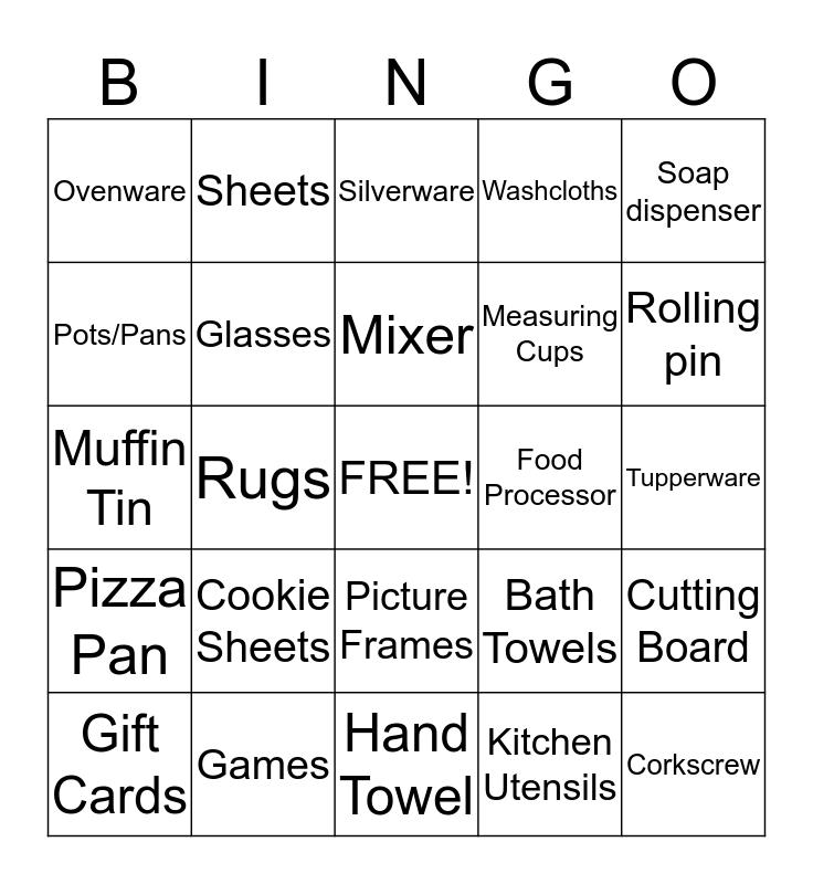 Chelsey's Wedding Shower Bingo Card