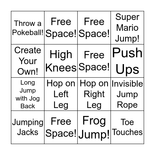 FITNESS BINGO! Bingo Card