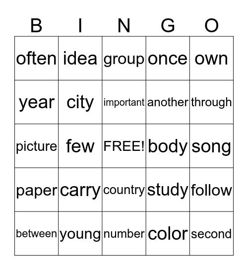 Josh B Second Grade Sight Words Bingo Card