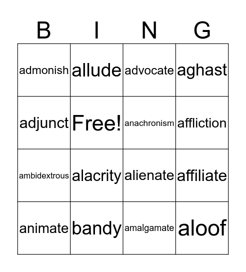 Unit 2 vocabulary Bingo Card