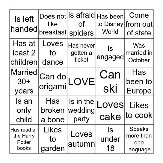 Rehearsal  Bingo Card