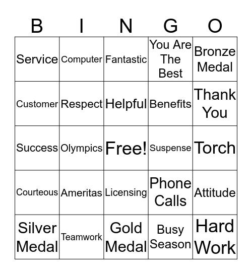 Customer Service Week Bingo Card