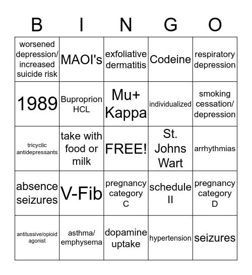 Mediacation Bingo Card