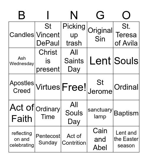 Unit 1 Bingo Card 8 Bingo Card