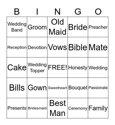 LAURA'S WEDDING SHOWER Bingo Card