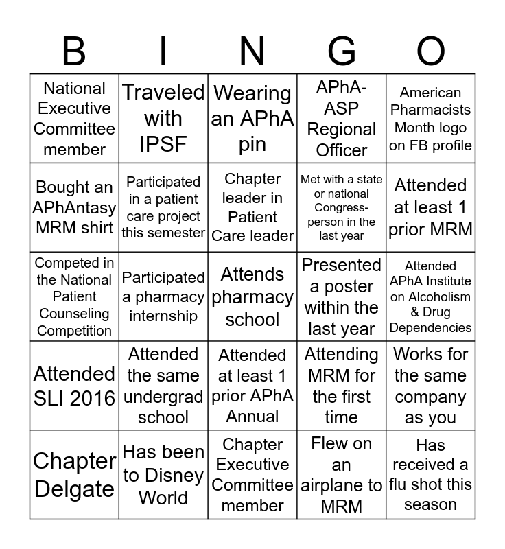 MRM Region 3 BINGO Card