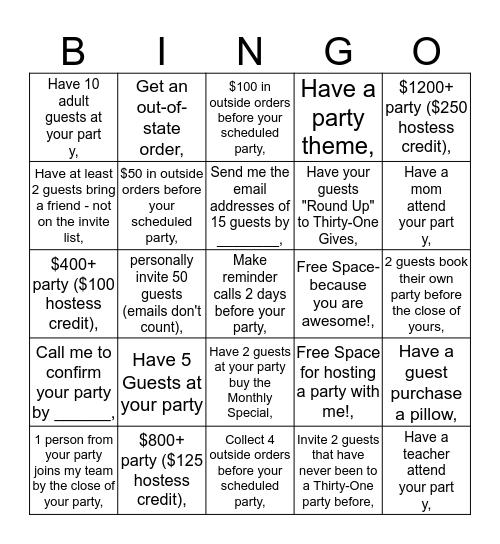 Hostess Bingo Card
