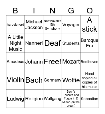 Classic Composers Bingo Card