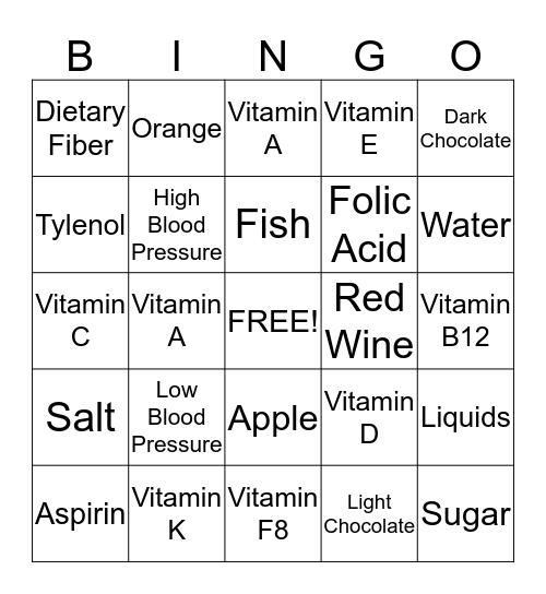 Nutrition Bingo  Bingo Card