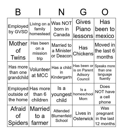 Get to know your neighbour! Bingo Card
