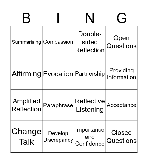 MI Bingo Card