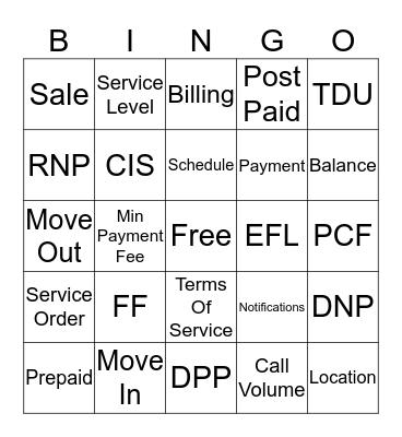 Customer Service Bingo Card
