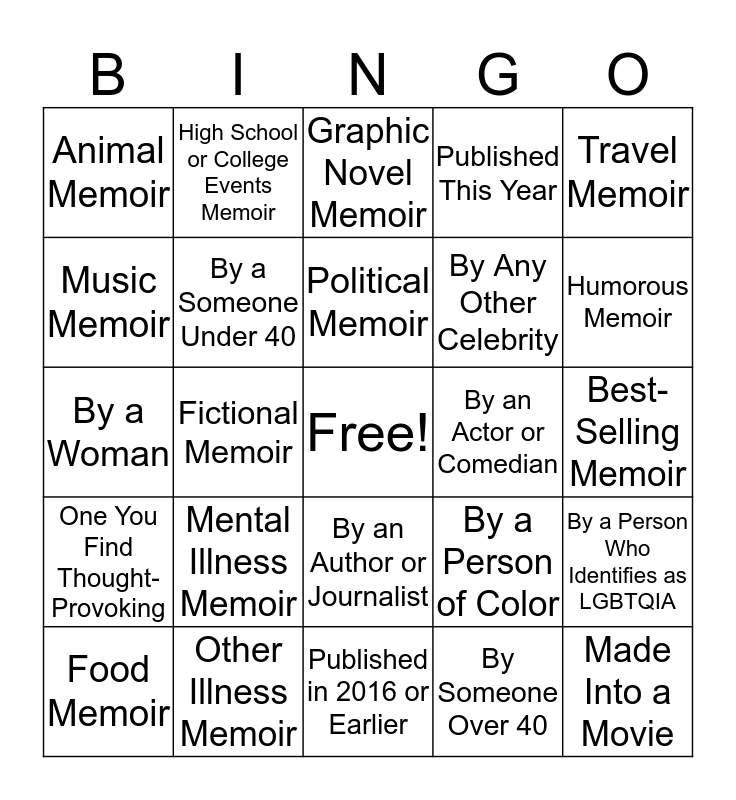 Memoir Reading Bingo Card