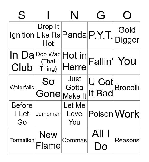 Hip-Hop & R&B Bingo Card