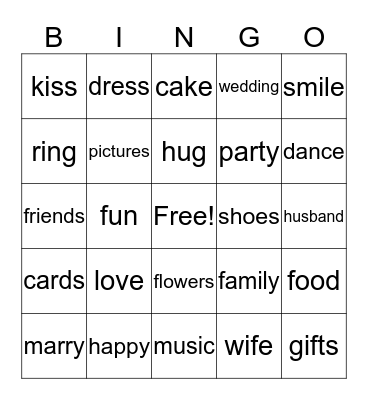 Wedding Bingo Card