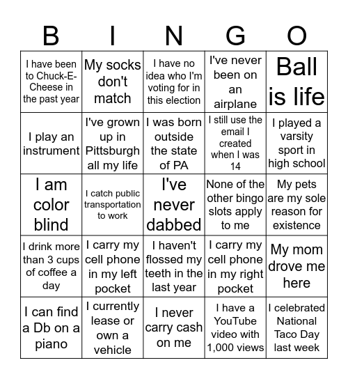 Young Adults Gift Card Giveaway!  Bingo Card