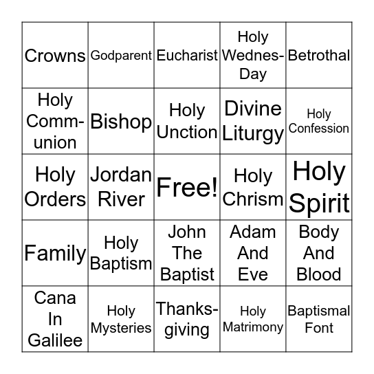 Seven Sacraments Bingo Card