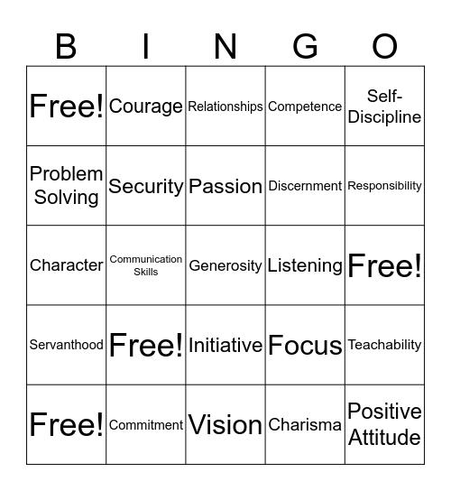 Leadership Traits Bingo Card
