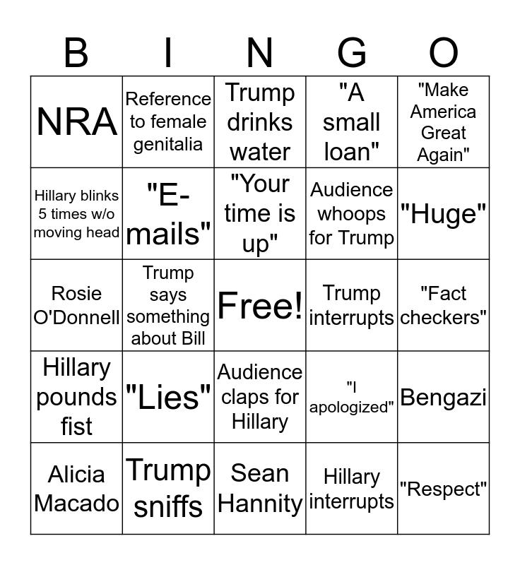 Trump vs Hillary debate #2 Bingo Card