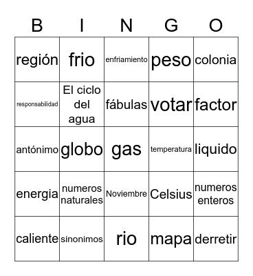 Bingo en español Bingo Card