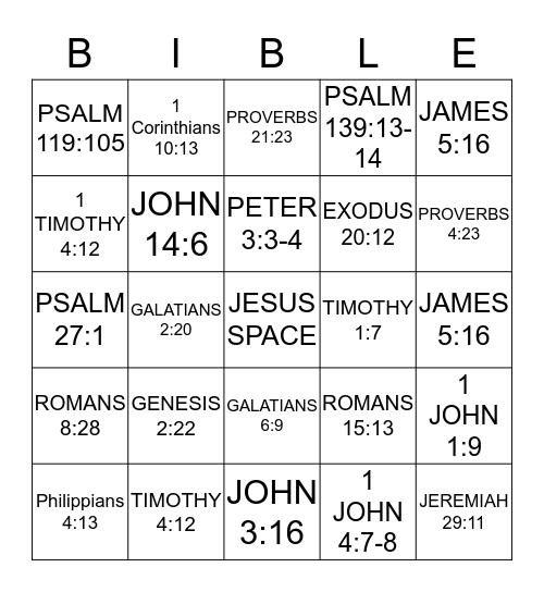 SCRIPTURE BINGO Card