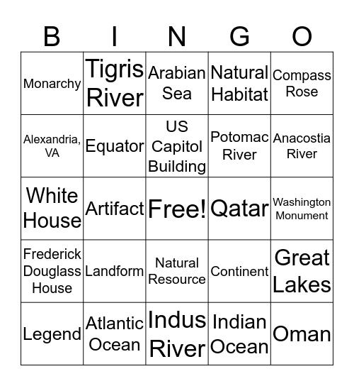 Geo Challenge BINGO Card