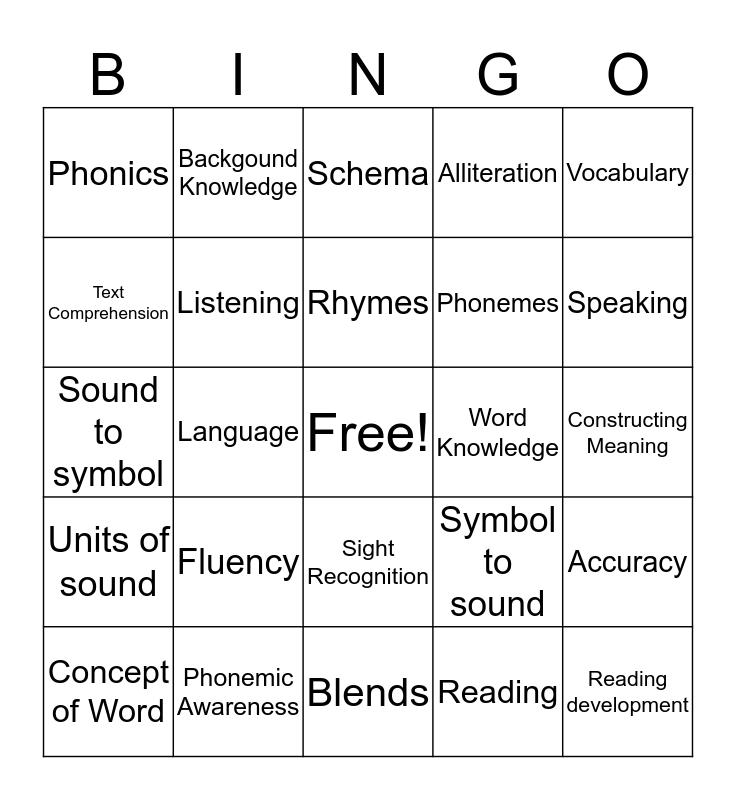 Comprehensive Literacy Bingo Card