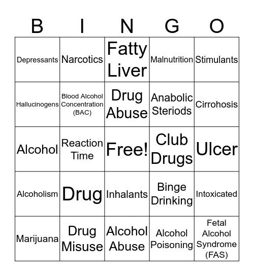 Drugs Bingo Card