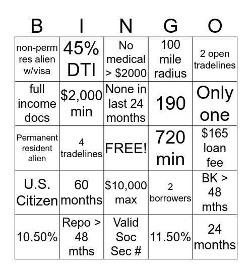 Signature Loan Scorecard Bingo Card