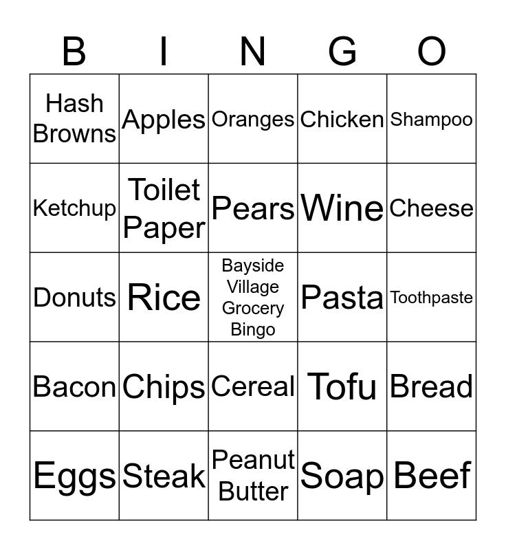 Bayside Village Grocery Bingo!!! Bingo Card