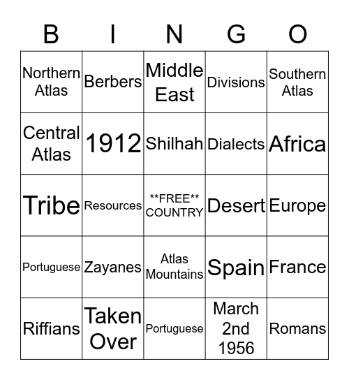 Moroccan Bingo Card