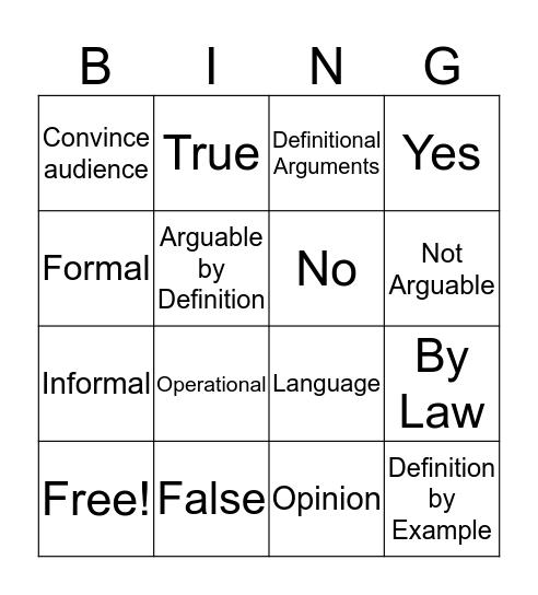 Definitional Argument  Bingo Card