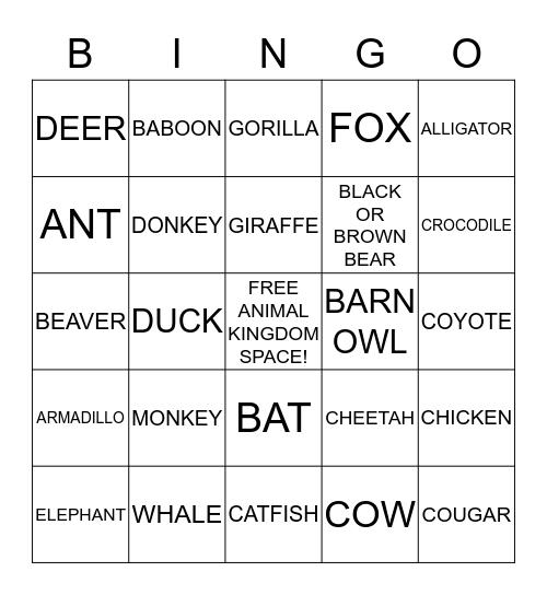 Animal Cracker Bingo Card