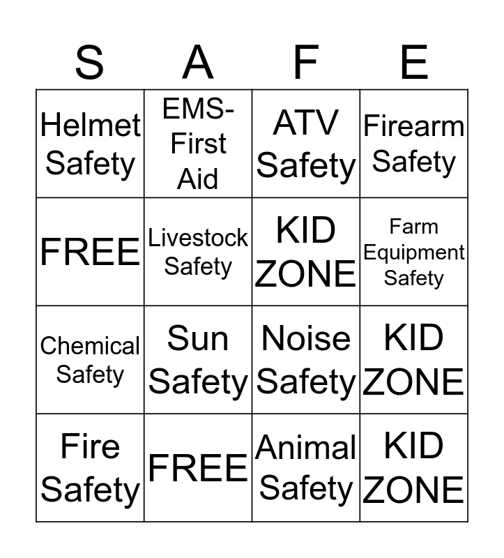 Progressive Agriculture Safety Day  Bingo Card