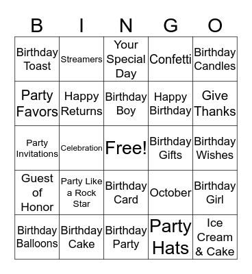 OCTOBER  BIRTHDAYS Bingo Card