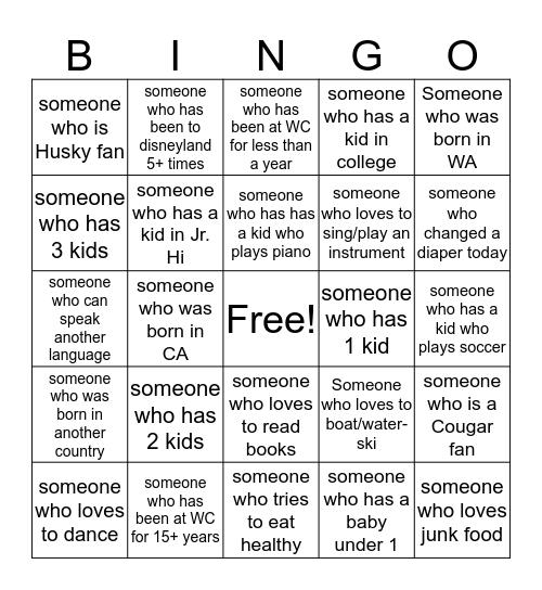 Family Grow Group Bingo Card