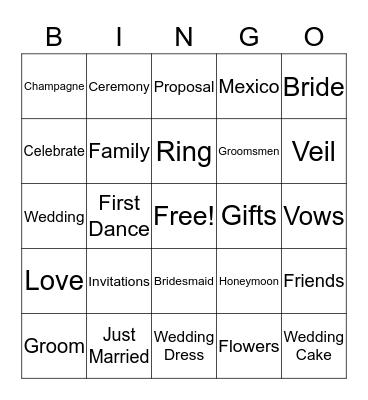 Erin's Bridal Shower  Bingo Card