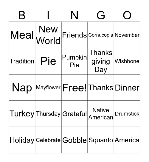 November Bingo Card